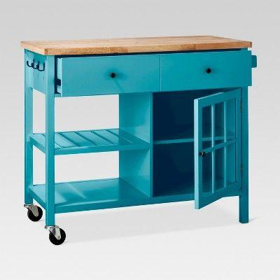 Windham Wood Top Kitchen Island Teal Blue Threshold In 2020 Kitchen Tops Interior