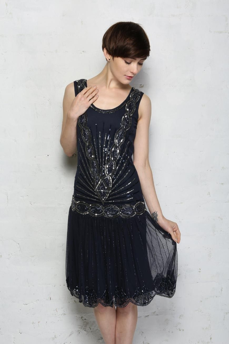 Zelda Flapper Dress - Navy - Frock and Frill   Things to Wear ...