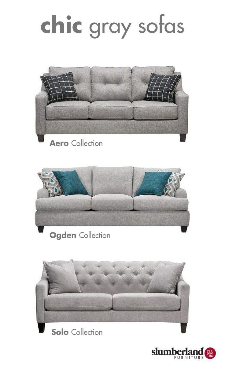Chic Gray Sofas Living Room Sofa Set Living Room Sofa Slumberland Furniture #slumberland #living #room #furniture