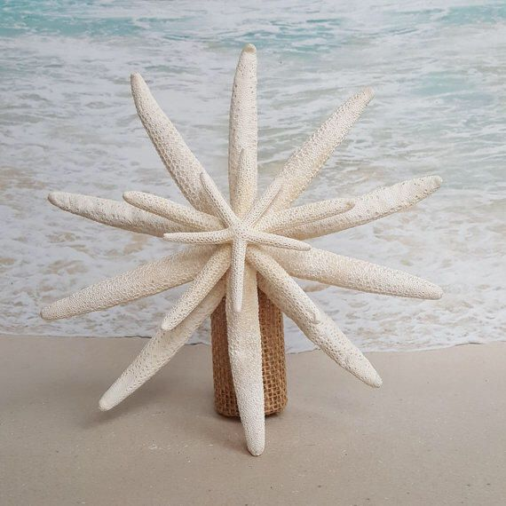 Hawaiian Christmas Tree Topper: Starfish Tree Topper- Natural, Gold Or Silver Glitter