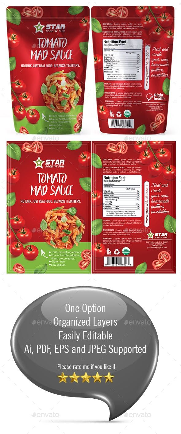 Tomato Sauce Packaging Template | Spinach nutrition facts ...