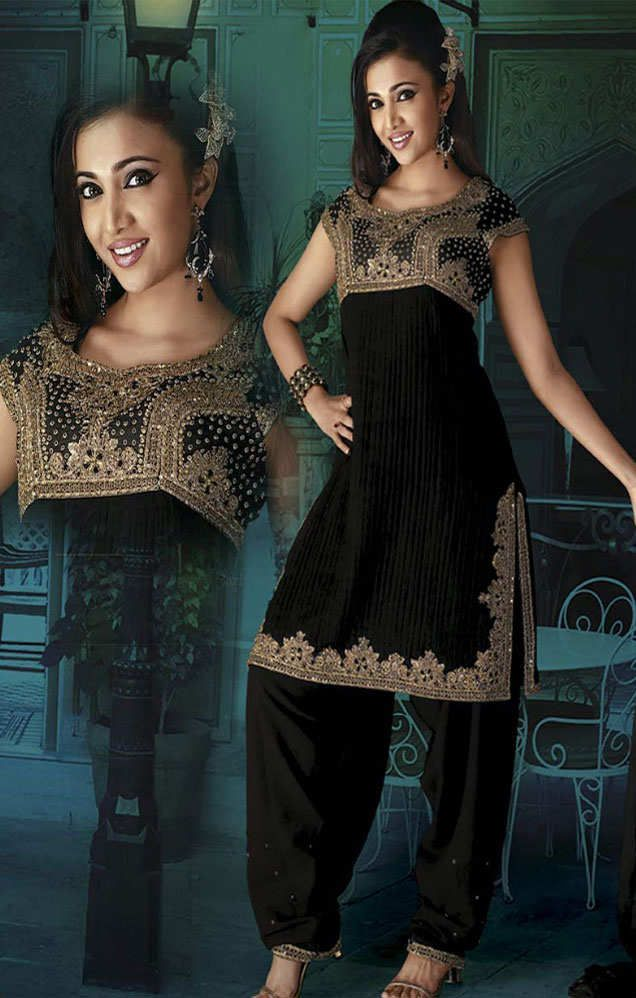 Latest #patiala suit in #black colour, an elegant salwar kameez ...