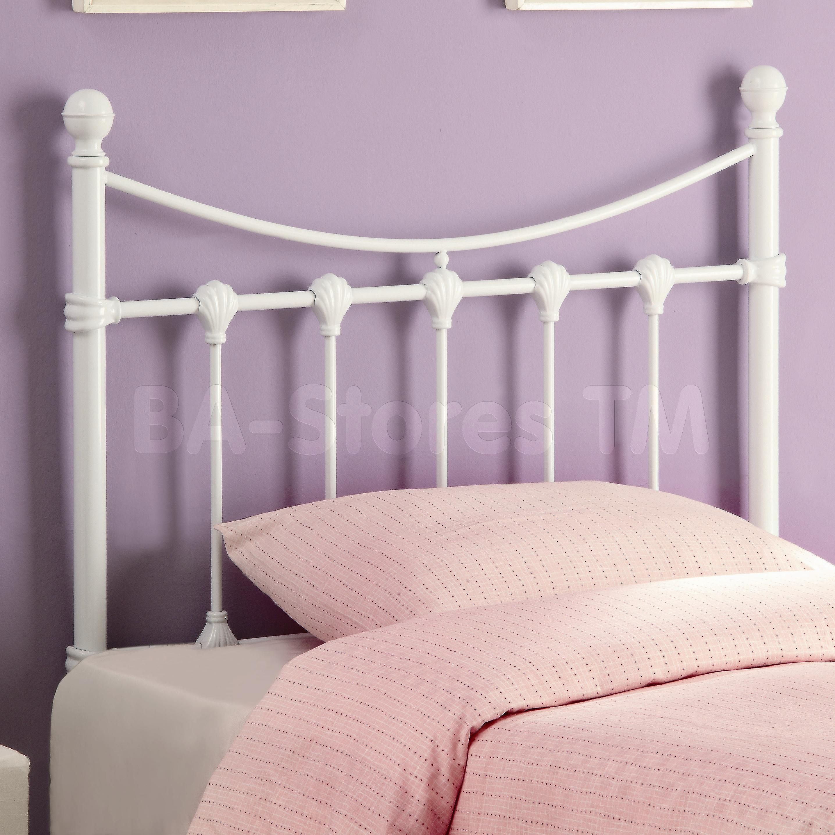 Twin White Metal Headboards Queen With Pink Cushions For Kids