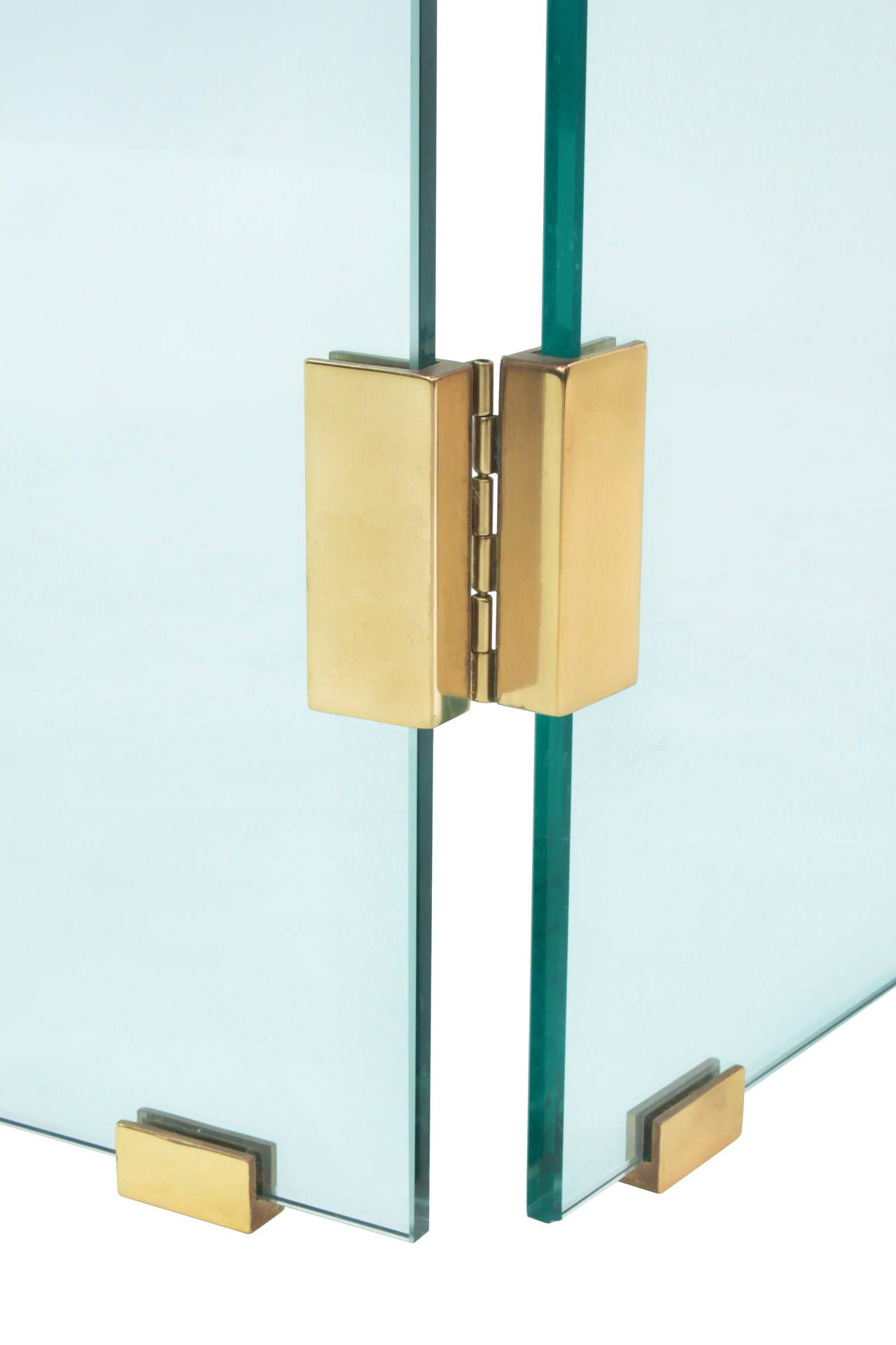 Glass Fireplace Screen With Brass Hinges By Danny