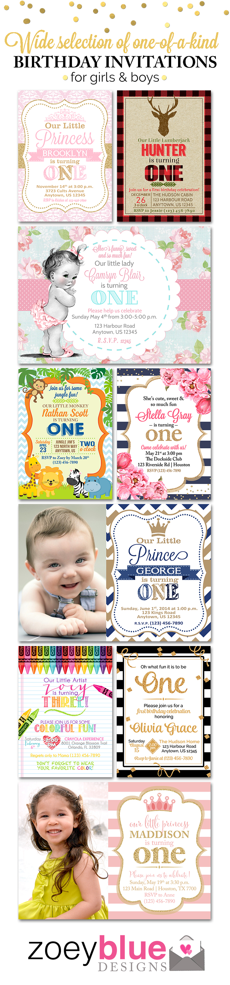 Birthday Invitations, Birthday Invites, First Birthday Invitations ...