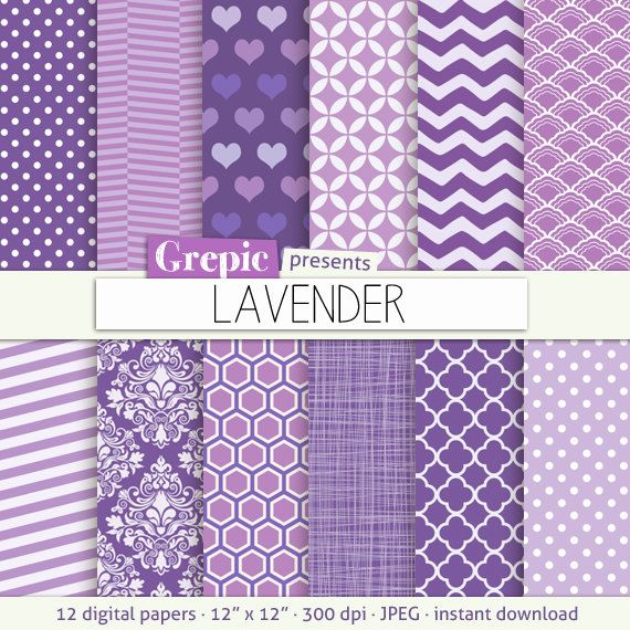 Lavender digital paper LAVENDER lilac purple digital by Grepic