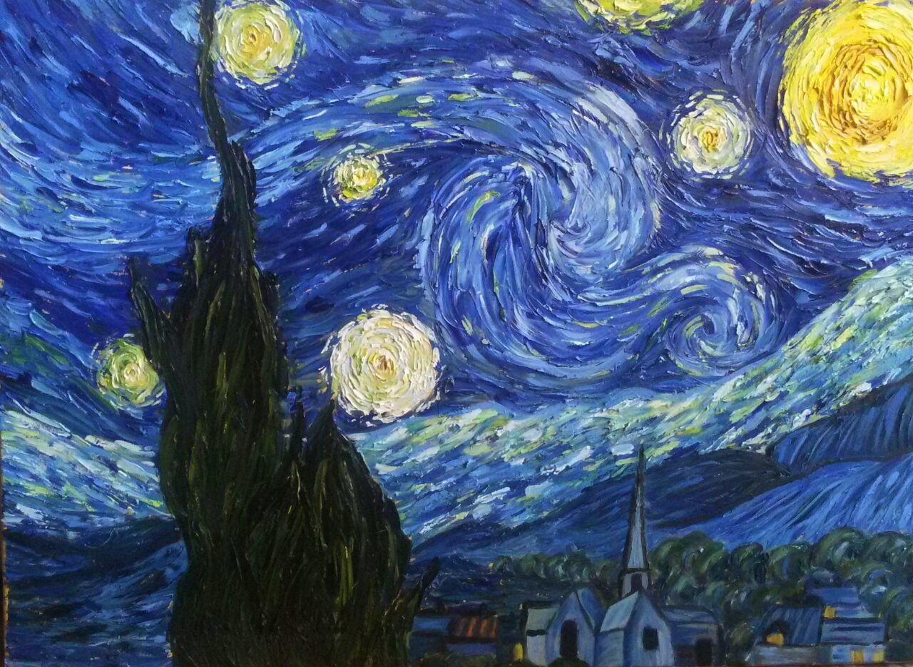 Giuseppina colicchio notte stellata riproduzione da un for Notte di van gogh