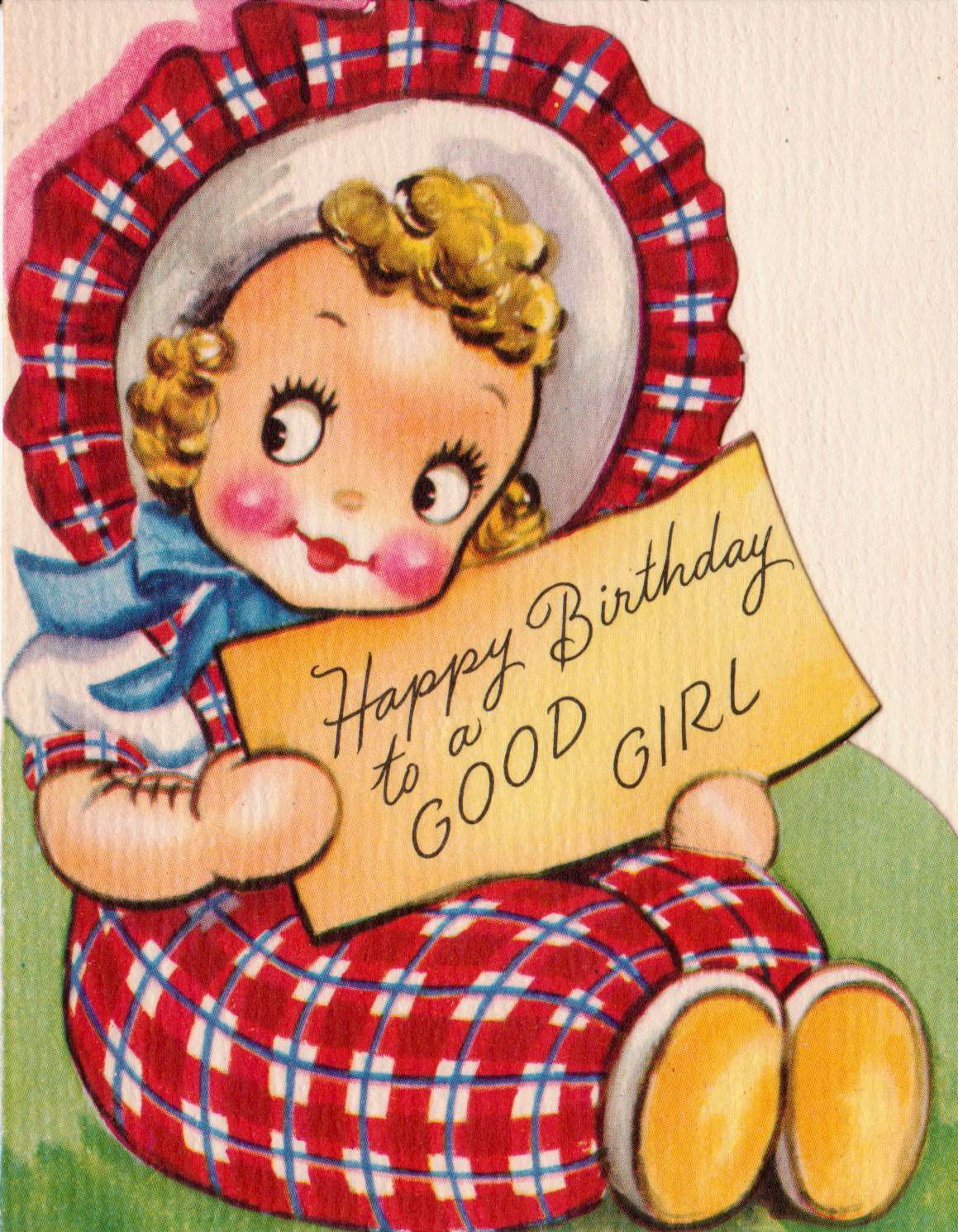 Vintage 1950s Happy Birthday To A Good Girl Greetings Card B2