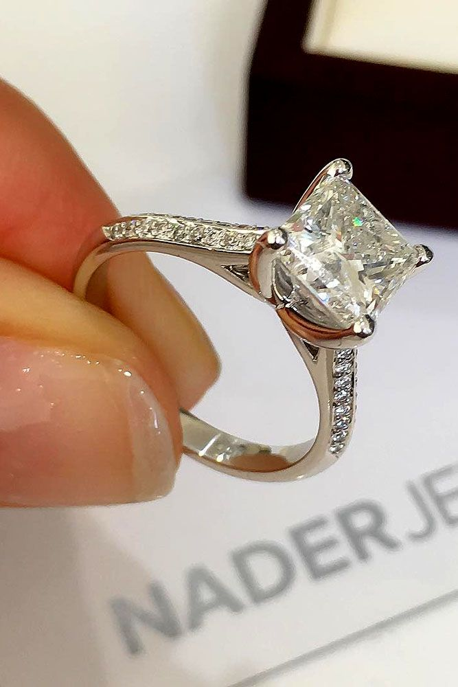 36 Breathtaking Princess Cut Engagement Rings - Dream engagement rings, Beautiful engagement rings, Womens engagement rings, Best engagement rings, Engagement ring cuts, Wedding jewelry - Princess cut engagement rings are combinations of tradition and fashion  Choose princess cut diamond rings you will get modern shape and amazing sparkling!