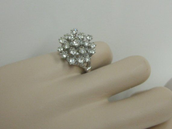 CLUSTER Ring Cocktail Cz Crystals 18Kt White by VINTAGEARTJEWELRY