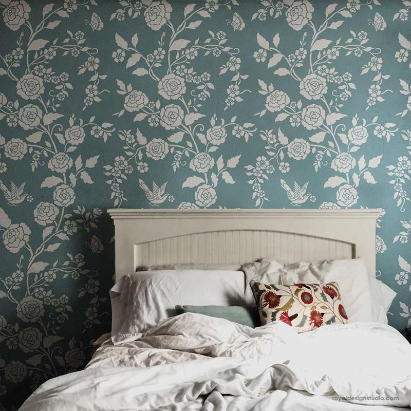 This Modern Flower Wall Stencil Design Is A Classic And Fresh Alternative To Wallpaper Paint With Your Favori In 2020 Stencils Wall Bedroom Wall Wall Stencil Patterns