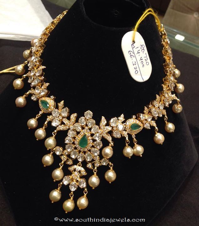 Gold And Diamond Jewellery Designs Indian Diamond Choker: Gold Polki Choker With Weight Details