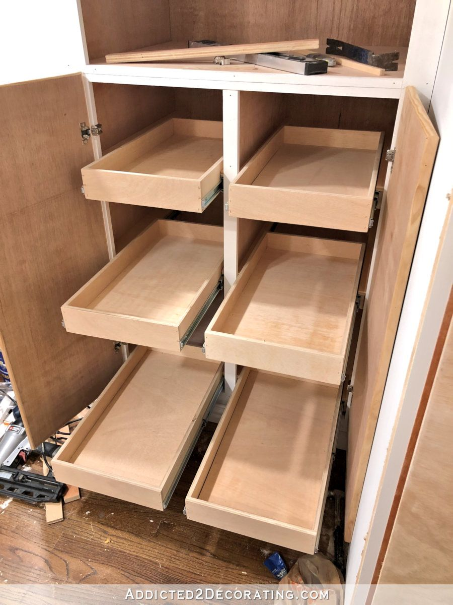 How I Built My Lower Base Cabinets And Drawers In The Pantry Addicted 2 Decorating Diy Kitchen Cupboards Kitchen Base Cabinets Pantry Cabinet