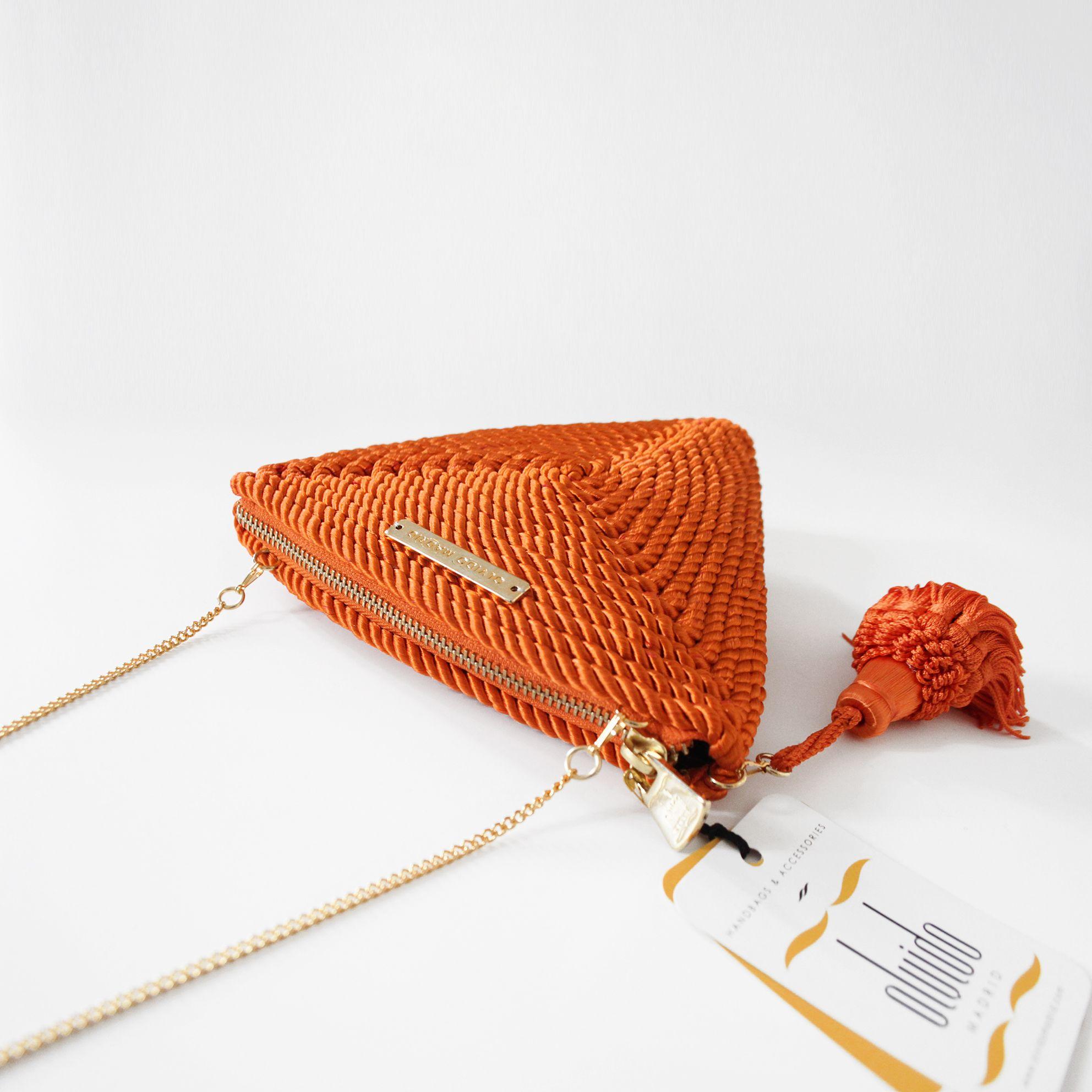 1a1291d96 ○ Bolso de fiesta hecho en cordón de seda | Modelo Alejandra naranja |  Diseños OLVIDO MADRID | www.olvidomadrid.es