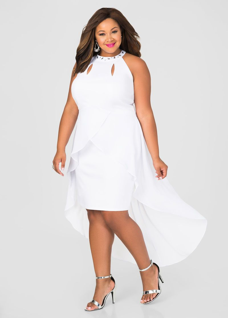 8d0e9bb1736 Chiffon Overlay Bodycon Dress White Chiffon Plus Size Dress