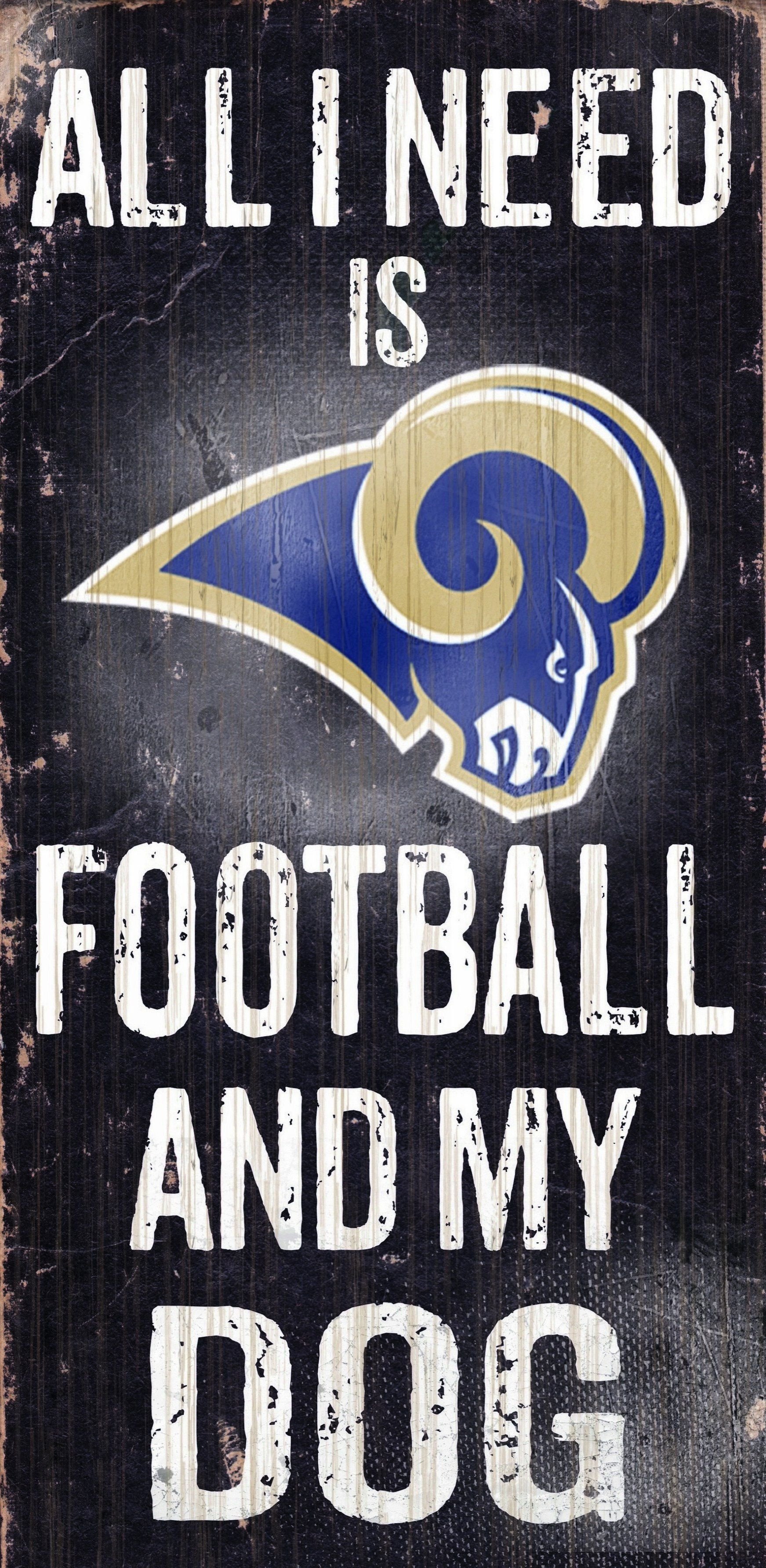 Los Angeles Rams Wood Sign Football And Dog 6x12 In 2020 Los Angeles Rams Rams Football Dog Signs