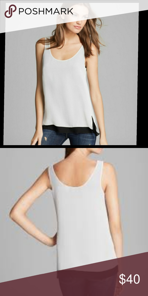 ebeaf4a940fc2 Vince double-layer black and white silk tank M Vince double-layer black and white  silk tank top in size Medium. Scoop neck. Top layer is white and inside ...
