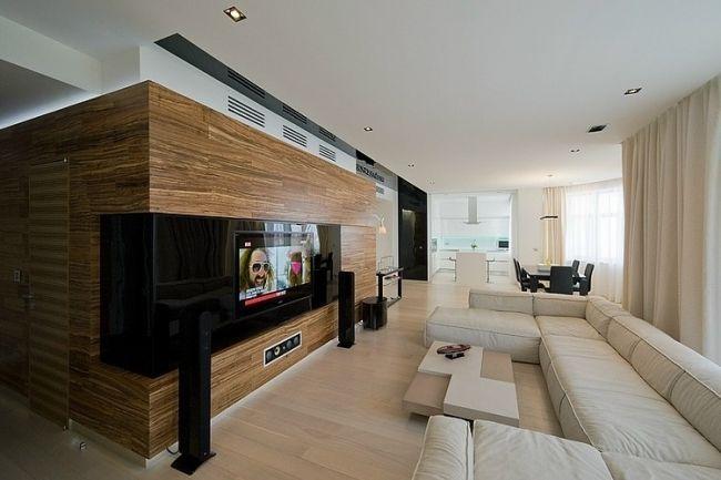 ♥ wohnzimmer gestalten creme überdimensionales sofa holzverkleidung