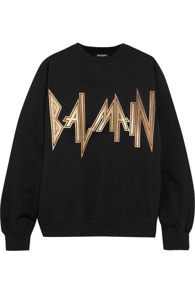 Balmain metallic logo print sweatshirt | Browns