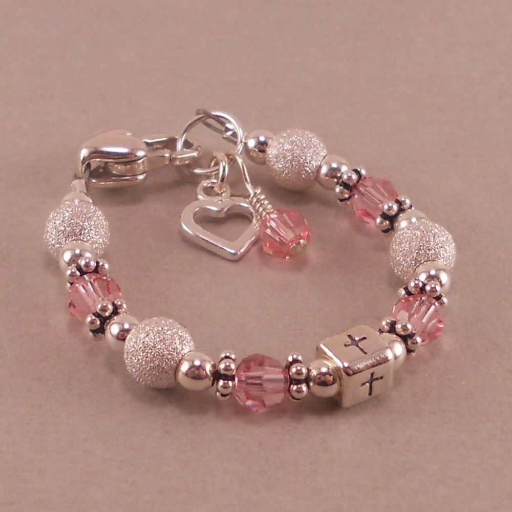 Baby Baptism Bracelet, cross, christening gifts, pink and silver ...