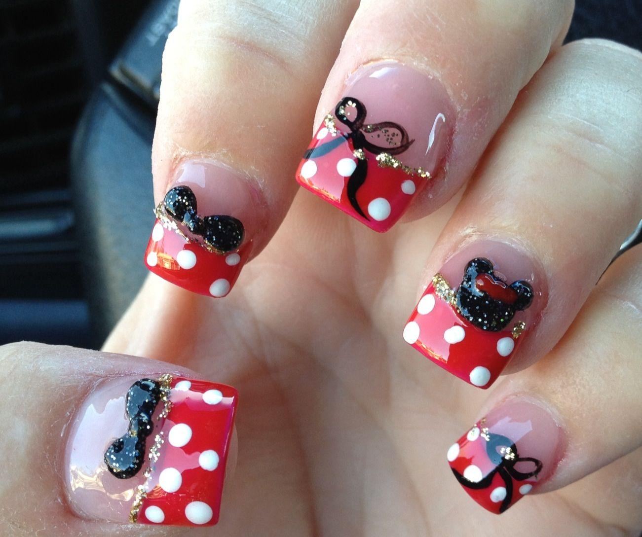 Minnie Mouse Nails :) | Nail Designs | Pinterest