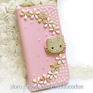 Hello Kitty Hard Case Wallet   New Design Bling Crystal Leather mobile Cell Phone Hard Wallet Case ...