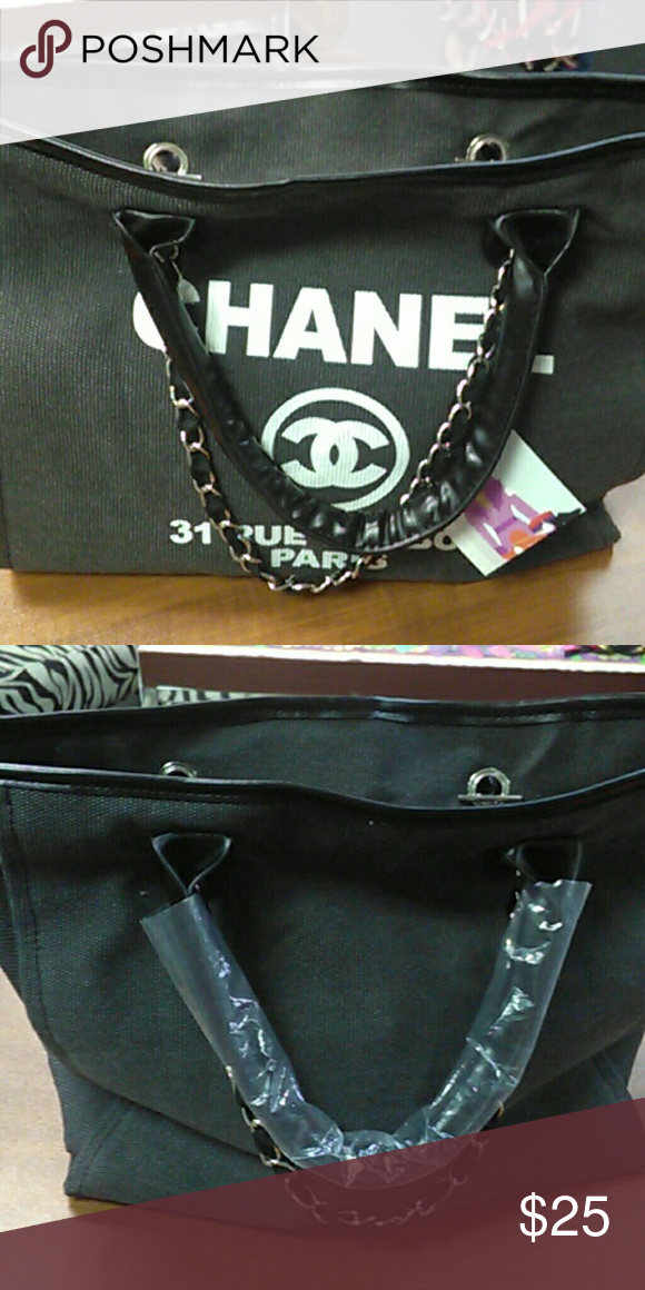 c2f8b0de3c8 Chanel knock off tote Canvas exterior with blk and silver accessories.  brown interior knock off Chanel Bags Totes