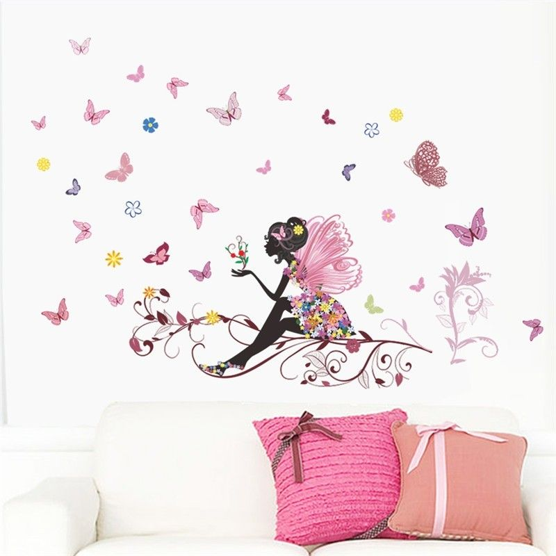 liketech fleurs et f e rose arbre et papillons sticker pour chambre de fille enfant ou b b. Black Bedroom Furniture Sets. Home Design Ideas