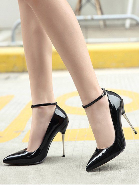 dca2d6844e7 Ankle Strap Stiletto Heel Patent Leather Pumps in 2019   Shoes ...