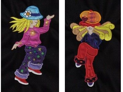 Applique dancing sunbonnets machine embroidery designs