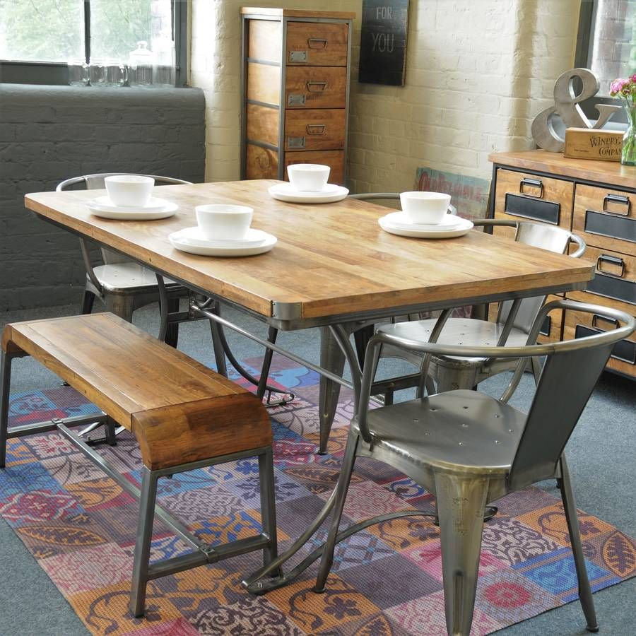 Large Reclaimed Steel And Wood Top Table Metal Dining Table Dining Table Modern Dining Table