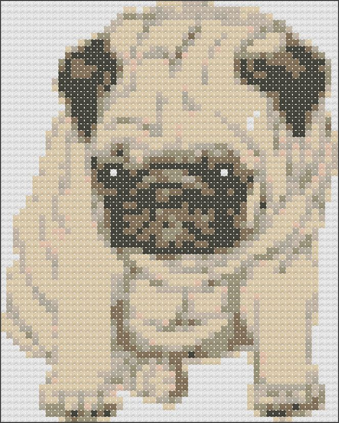 Easy Pug cross stitch chart | 6th board | Pinterest | Cross stitch ...