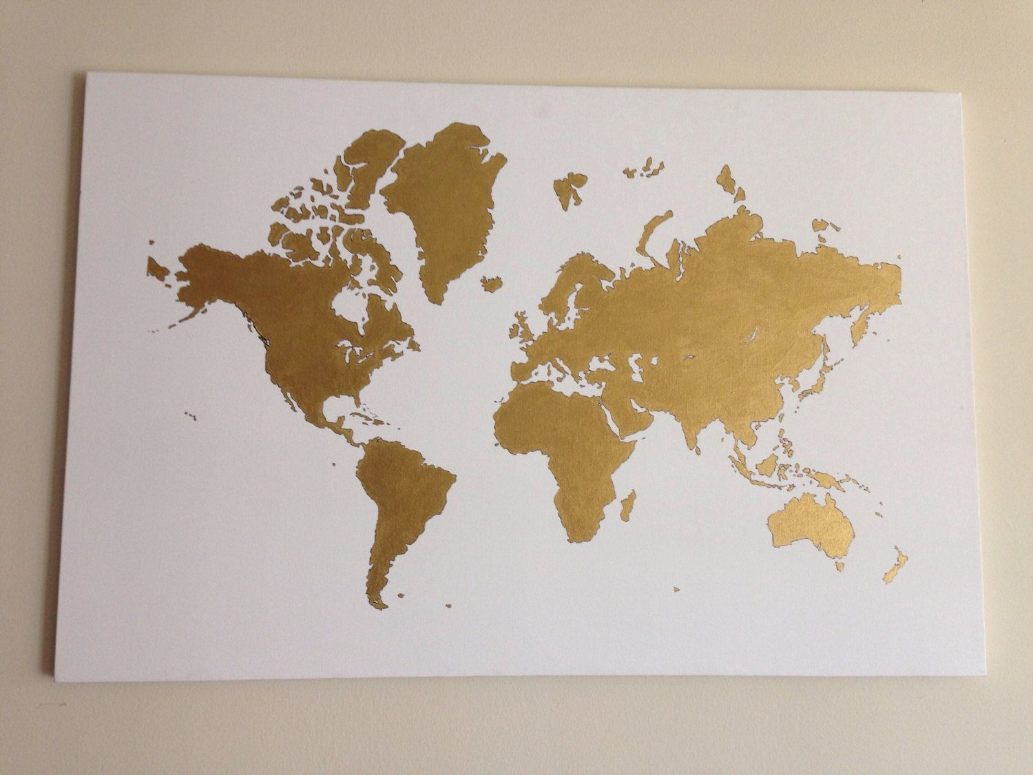 Hand painted world map canvas nifty spiffy crafty pinterest hand painted world map canvas gumiabroncs Gallery