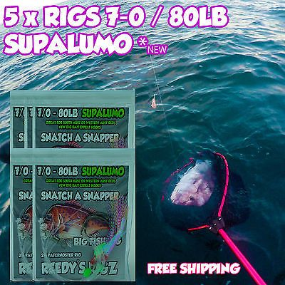 #Snapper rigs flasher 7-0 circle hook #paternoster #fishing rig 80lb supa lumo ba,  View more on the LINK: http://www.zeppy.io/product/gb/2/291665070092/