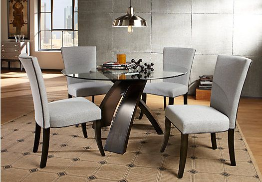 Del Mar Ebony 5 Pc Round Dining Set with Gray Chairs ...