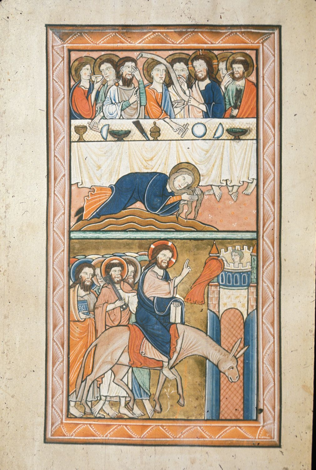 Mary Magdalene anointing Christ's feet and the Entry into Jerusalem (early 13th c. English psalter); more interesting table ware.