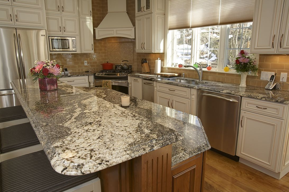 Affordable Small Kitchen Cabinet Design With Island As Dining Table White Granite Countertop And Brick Tile Backsplash