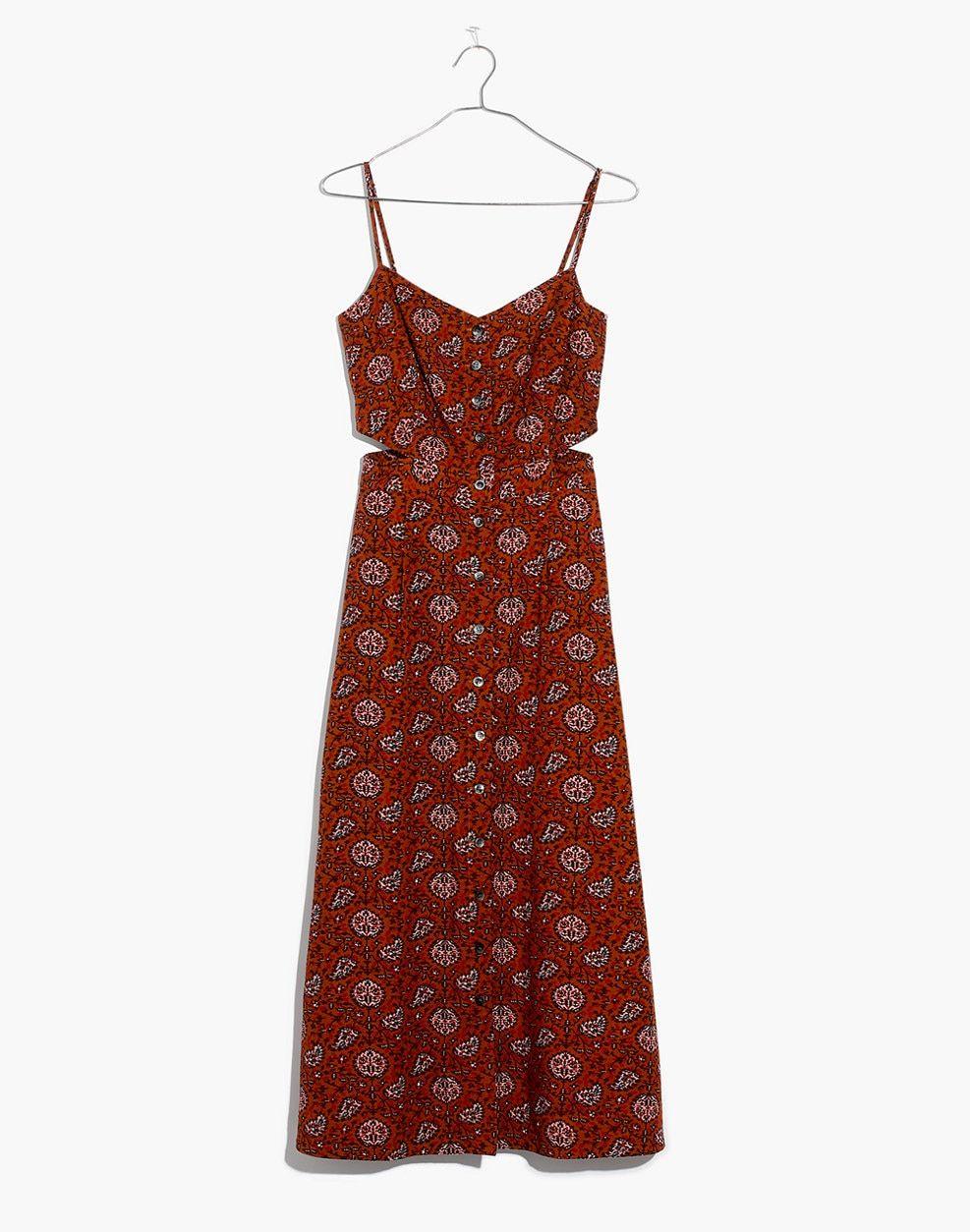 684bcb78a16 Cutout Cami Midi Dress in Warm Paisley   dresses   skirts