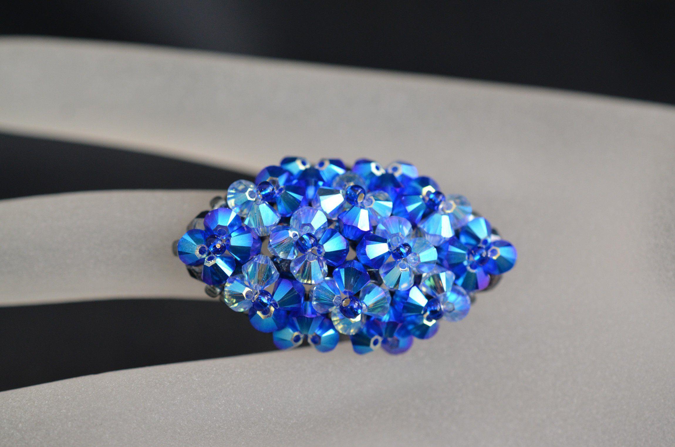 Crystal Swarovski, Swarovski crystal ring, fashion, blue, marquise ...
