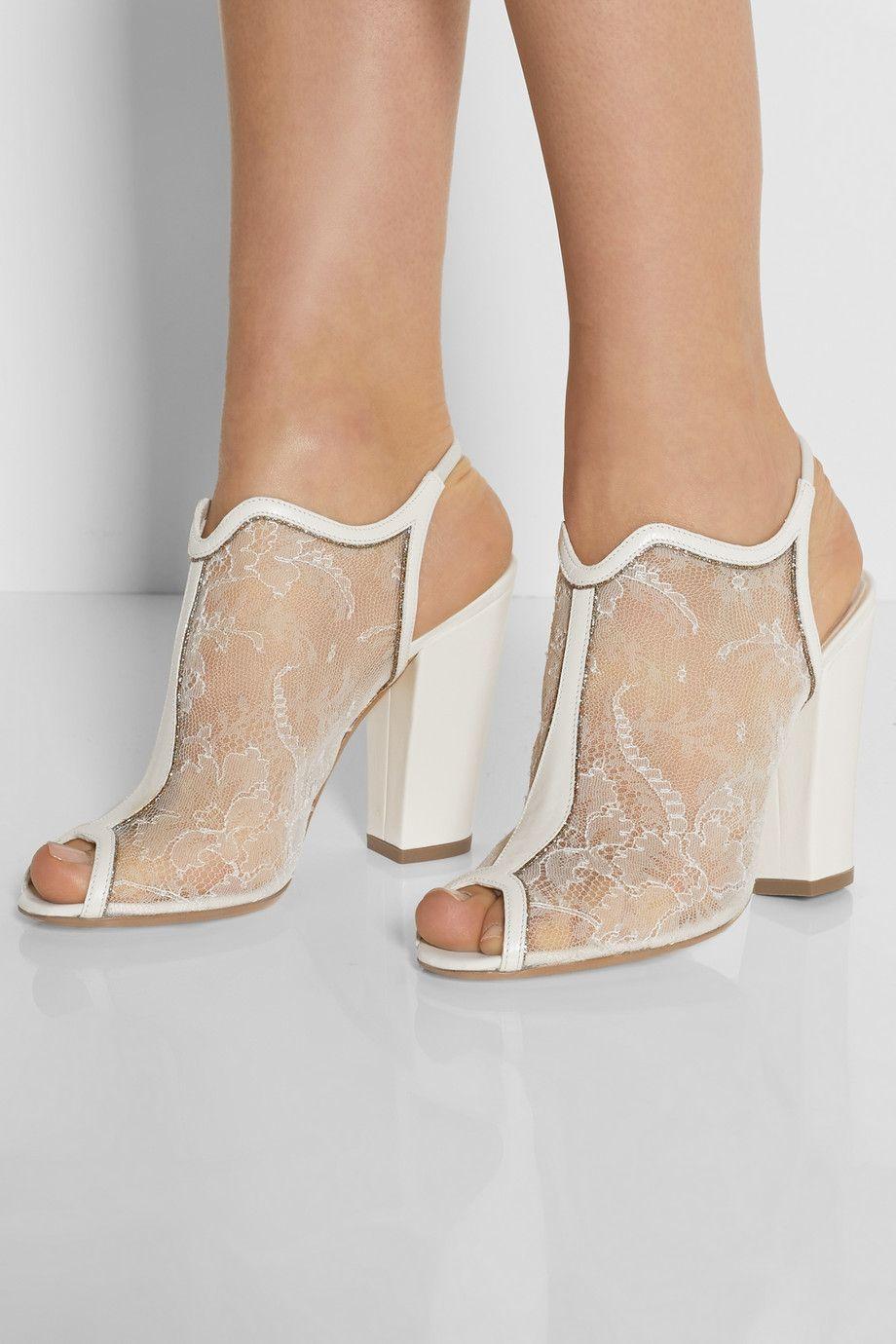 Nicholas kirkwood leather and glittertrimmed lace sandals neta