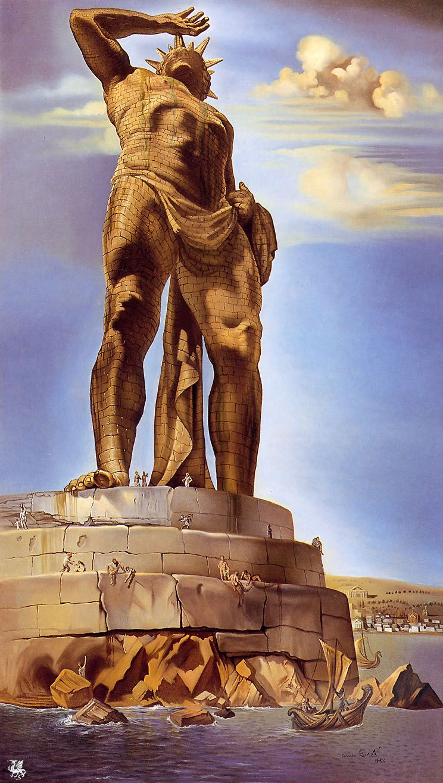 Salvador Dali - El Coloso de Rodas (óleo sobre lienzo, 1954)