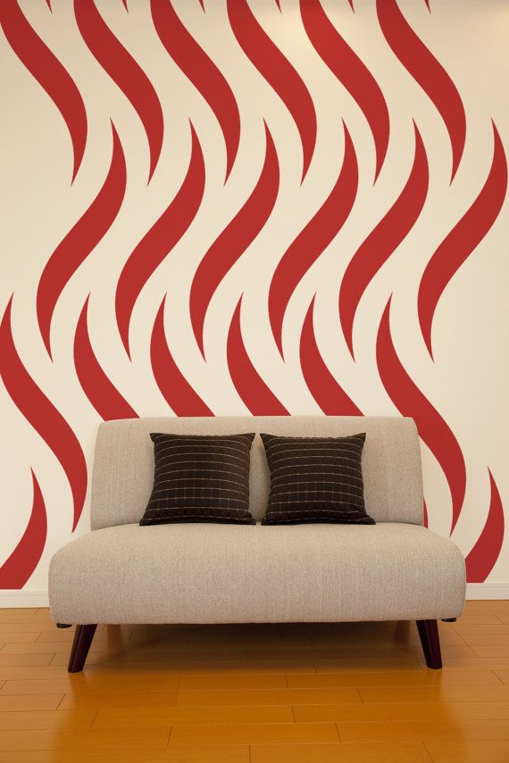 Geometric Wall Decal Flames Wall Decal Fire Wall Decal Tribal