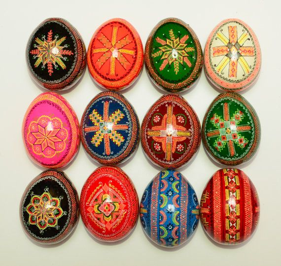 12 Wooden Ukrainian Pysanky Easter Painted by StoreOfEmbroidery