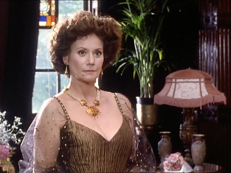 """Claudine Auger as Isadora Klein in Granada Televsion's """"The Memoirs of Sherlock Holmes: The Three Gables,"""" 1994."""