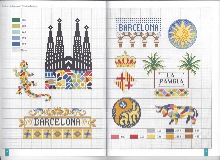 0 point de croix grille et couleurs de fils de veronique enginger voyage en espagne barcelone, spain barcelona trip cross stitch