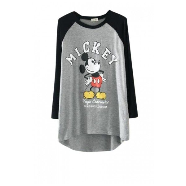 Cartoon Mickey Mouse Print T-Shirt with Raglan Sleeve ($23) ❤ liked on Polyvore…