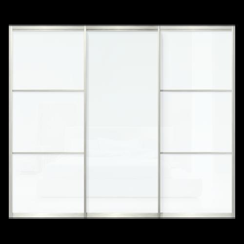 Sliding Closet Door 156 X 80 3 Clear White Glass Panels On 2 Tracks Closet Doors Sliding Closet Doors Glass Panels