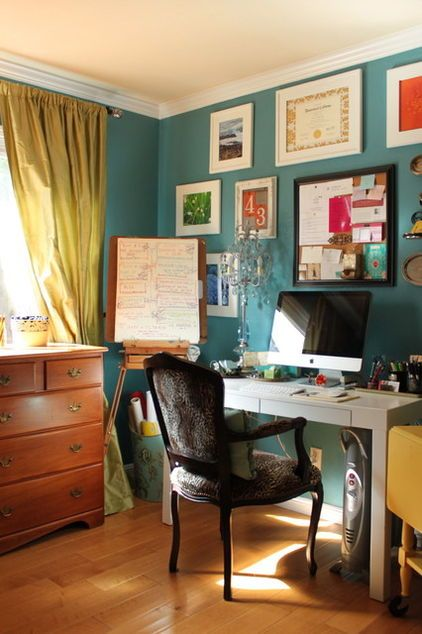 eclectic design home office. Interesting Home Eclectic Home Office By Story U0026 Space  Interior Design And Color Guidance   Pinned Because I Like The Combination Of Teal Walls With Citrus Colors  With Home Office