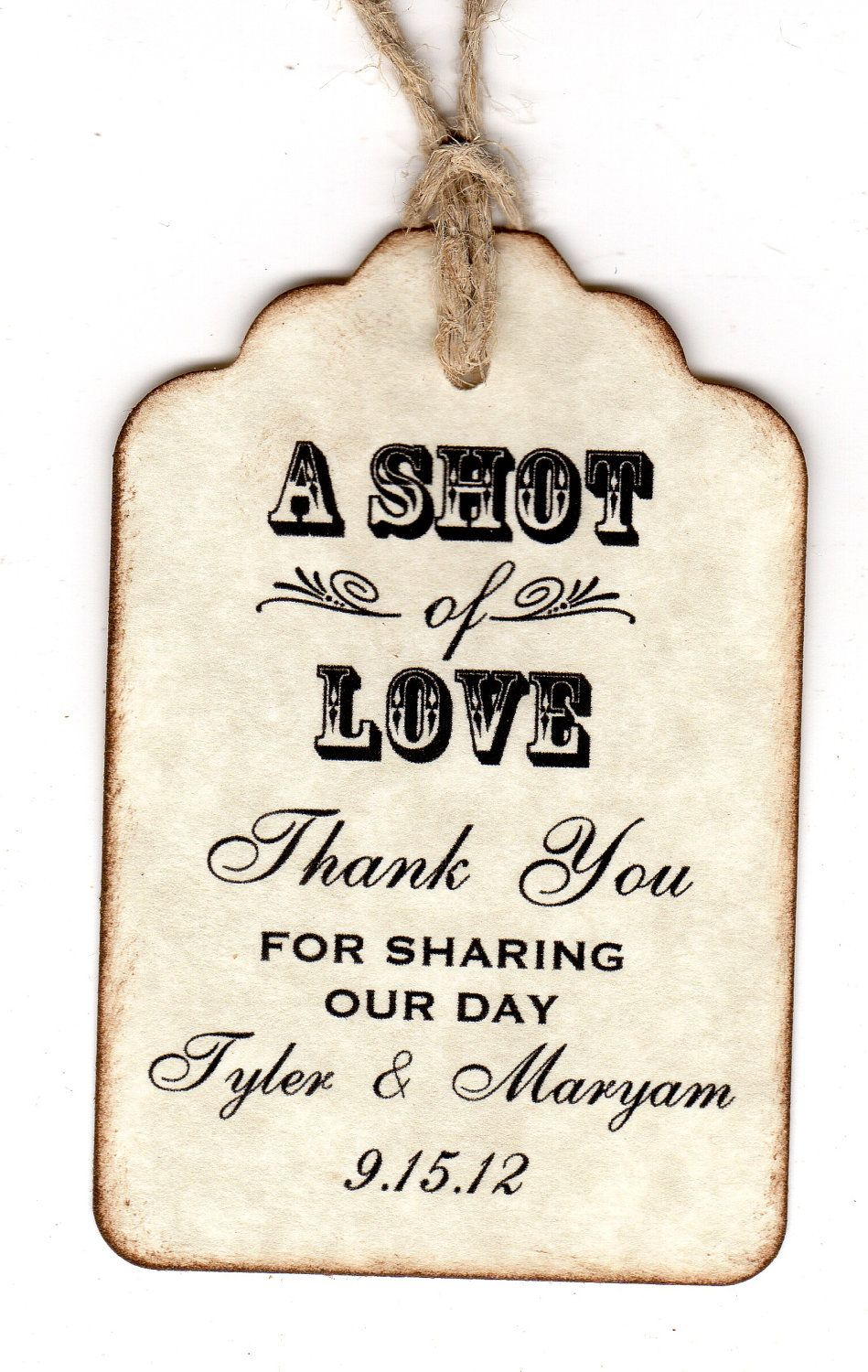 50 Shot Of Love Wedding Favor Tags Personalized Thank You Shot Glass ...