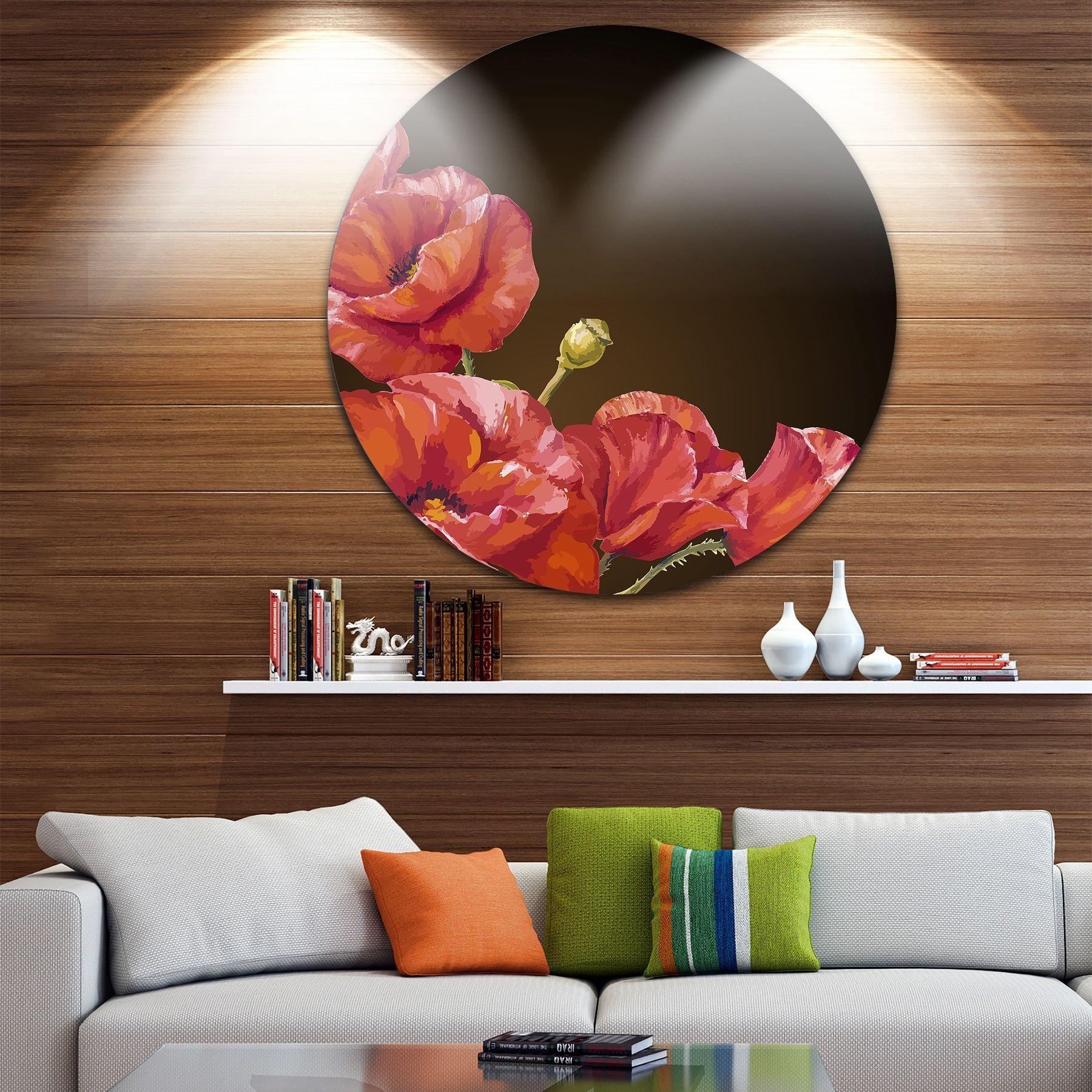 Designart 'Poppy Flowers Vector Art' Floral Glossy Metal Wall Art